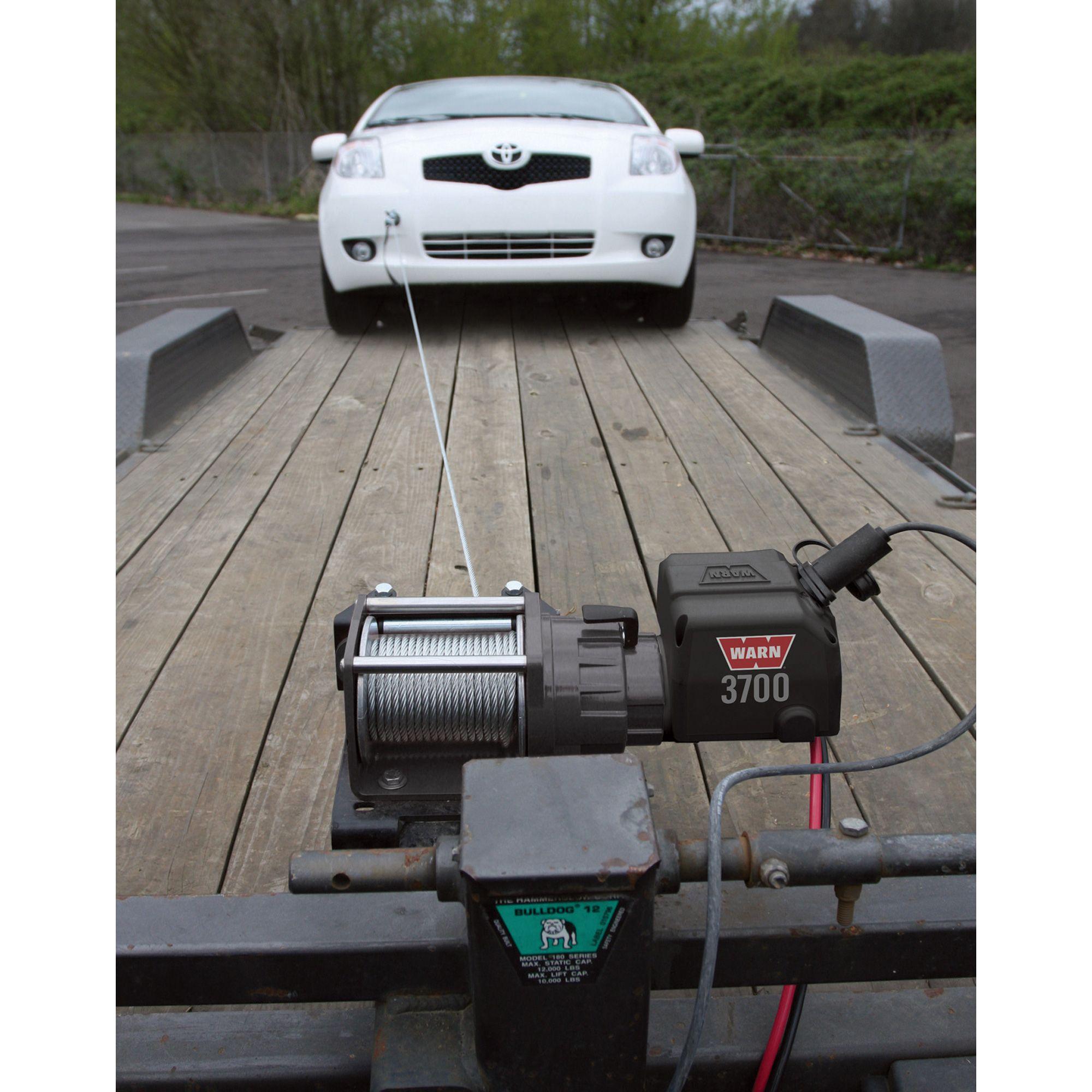 Warn Utility Winch 3700 Lb Capacity 12 Volt Dc Model Warn 3700 Dc 3 000 4 900 Lb Capacity Winches Car Trailer Car Hauler Trailer Work Trailer