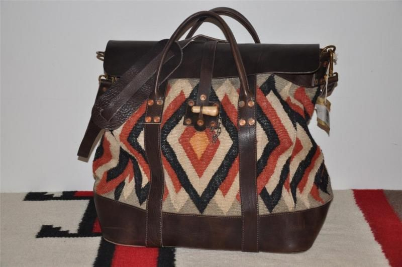16414a2321 Ralph Lauren RRL Indian Blanket Leather Serape Large Overnight Bag ...