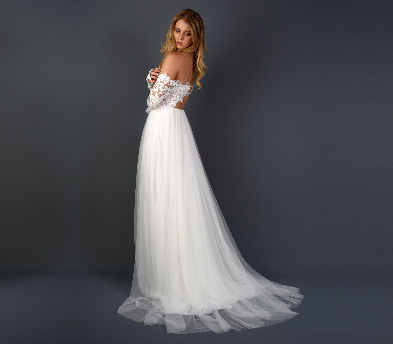 Long sleeve wedding dress off shoulder wedding dress with silk