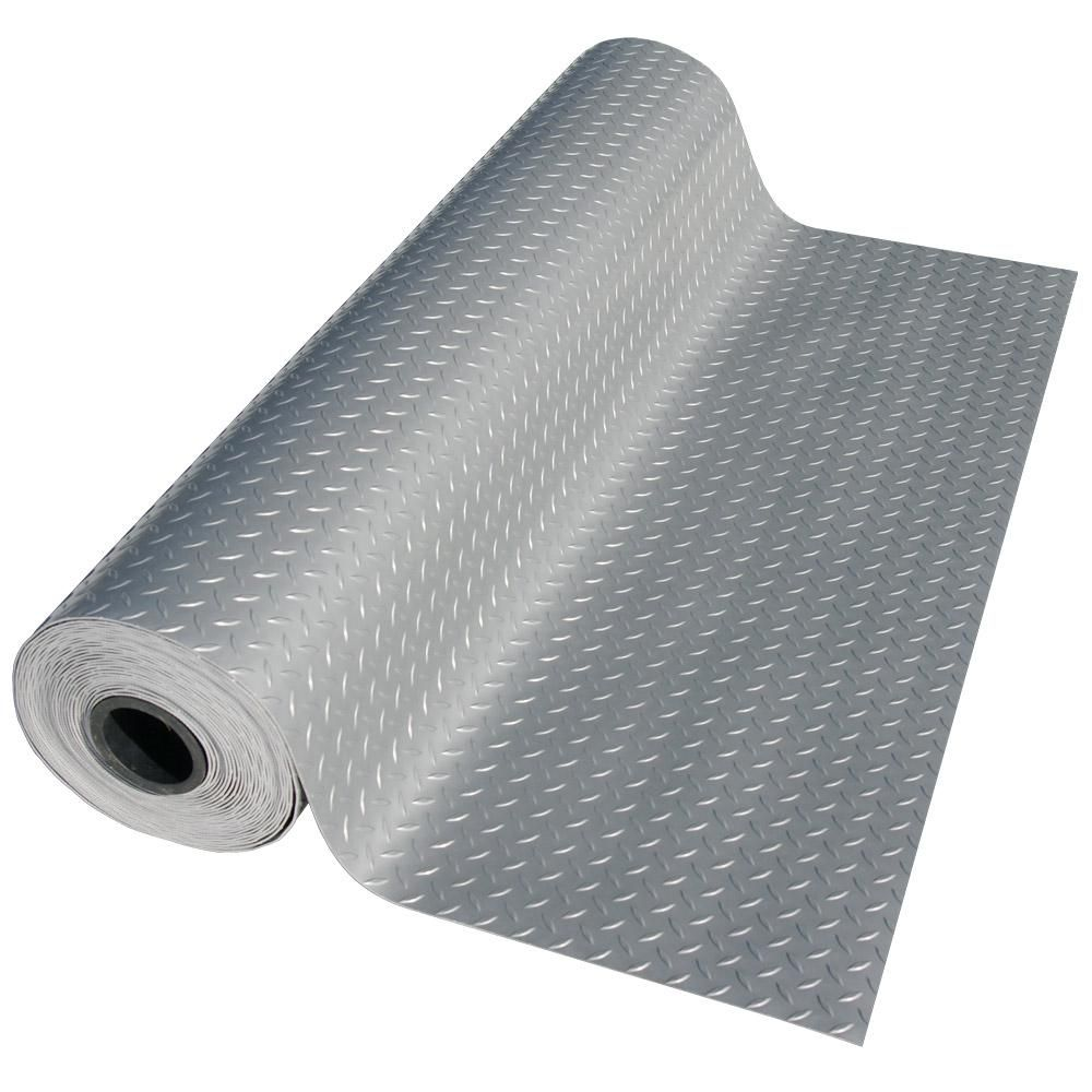 Rubber Cal Diamond Plate Metallic 4 Ft X 4 Ft Silver Pvc Flooring 16 Sq Ft 03 266w S 04 The Home Depot Garage Floor Pvc Flooring Rubber Flooring