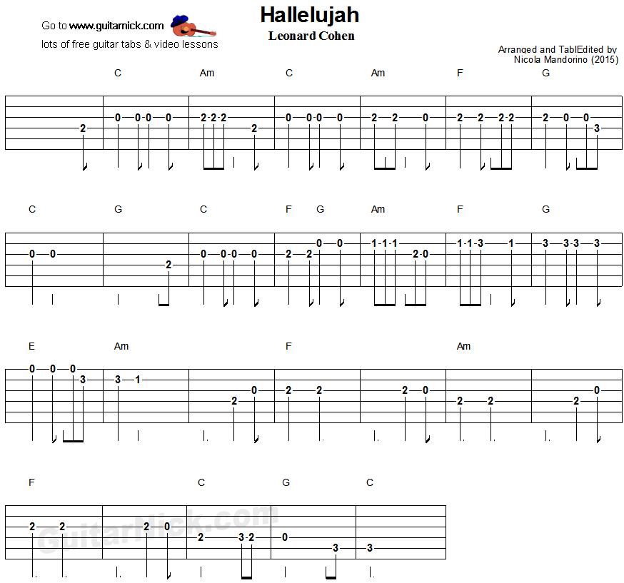 Hallelujah Easy Guitar Tablature Sheet Music Notation