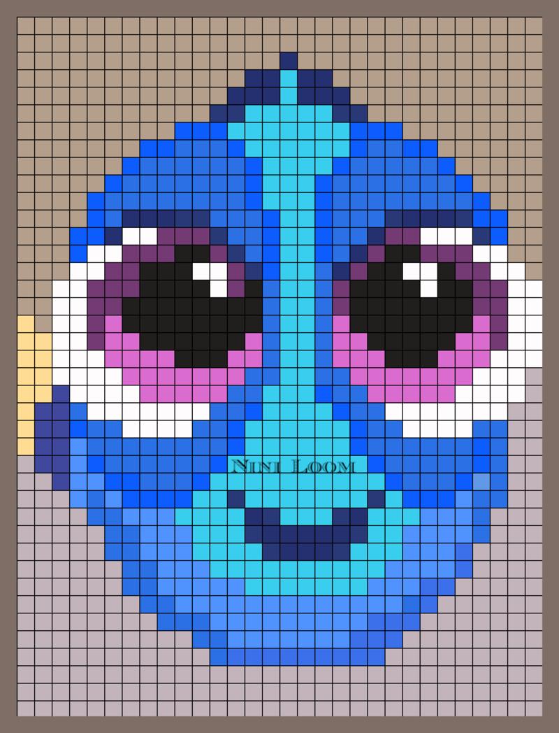 Baby Dory Perler Bead Pattern Cross Stitch Crochet Pixel