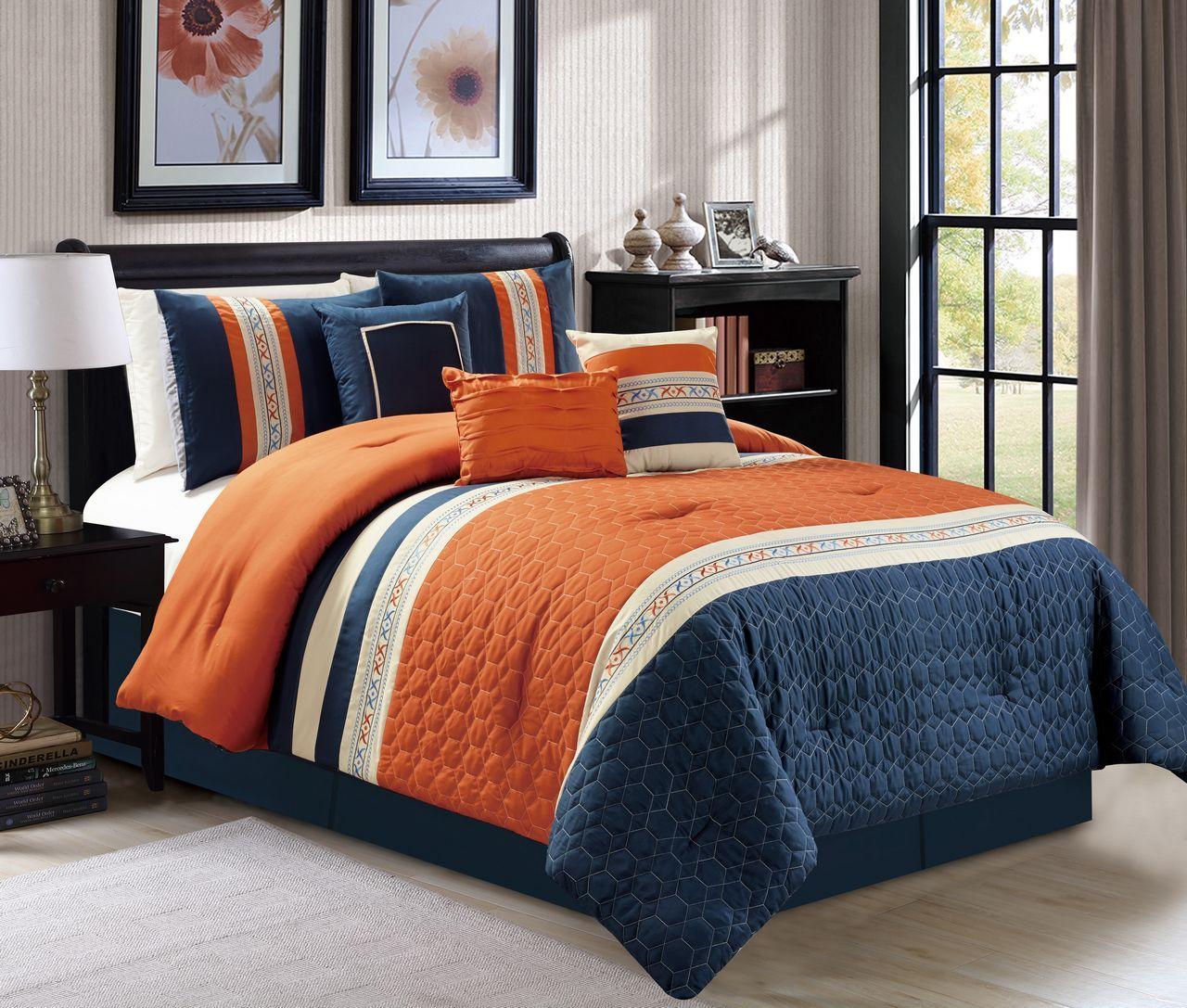 7 Piece Honeycomb Quilted Orange Navy Ivory Comforter Set Unique Bedding Sets Unique Beds Comforter Sets