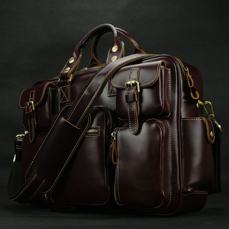 PILAEO HIGH END Handmade Leather Satchel Wine Red Leather Bag CY of High  Quality  509a82fb483ba