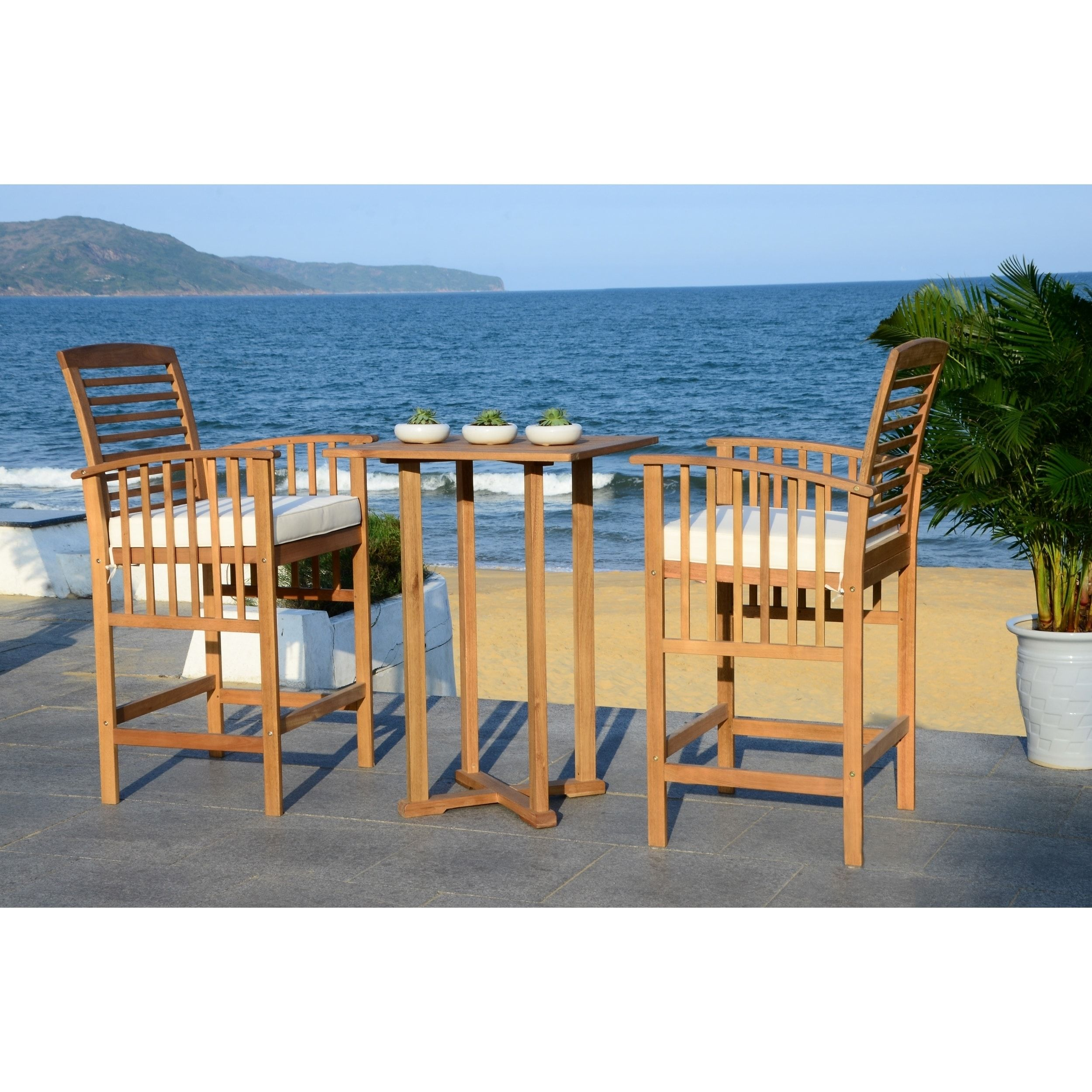 Safavieh Outdoor Living Pate 3-Piece Teak-Colored/ White Bar Table ...