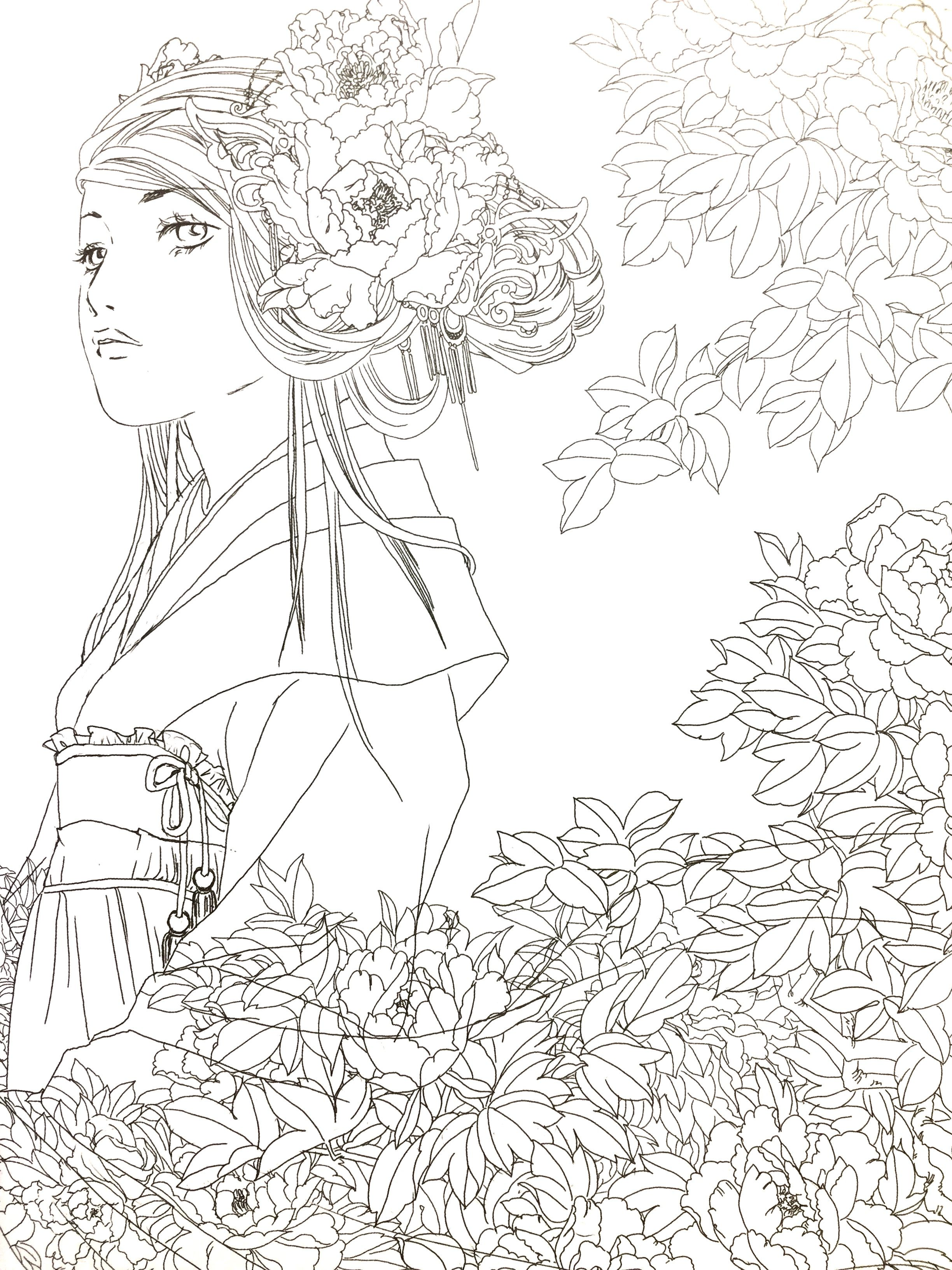 Hers Chinese Antiquity Coloring Book Etsy Coloring Books Cute Coloring Pages Color Pencil Art