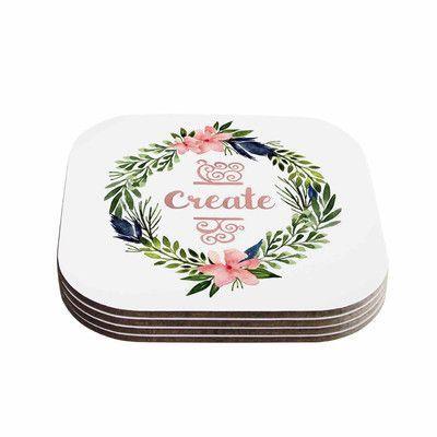 """KESS InHouse """"Create"""" 4 Coasters Set"""