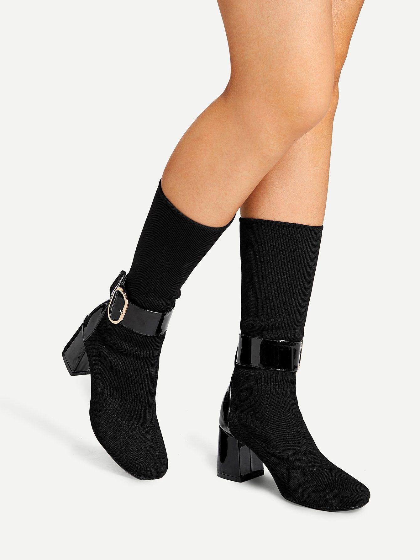 da82ea41cee9 Casual Almond Toe Mid Calf No zipper Black Low Heel Chunky Ankle Buckle Sock  Boots