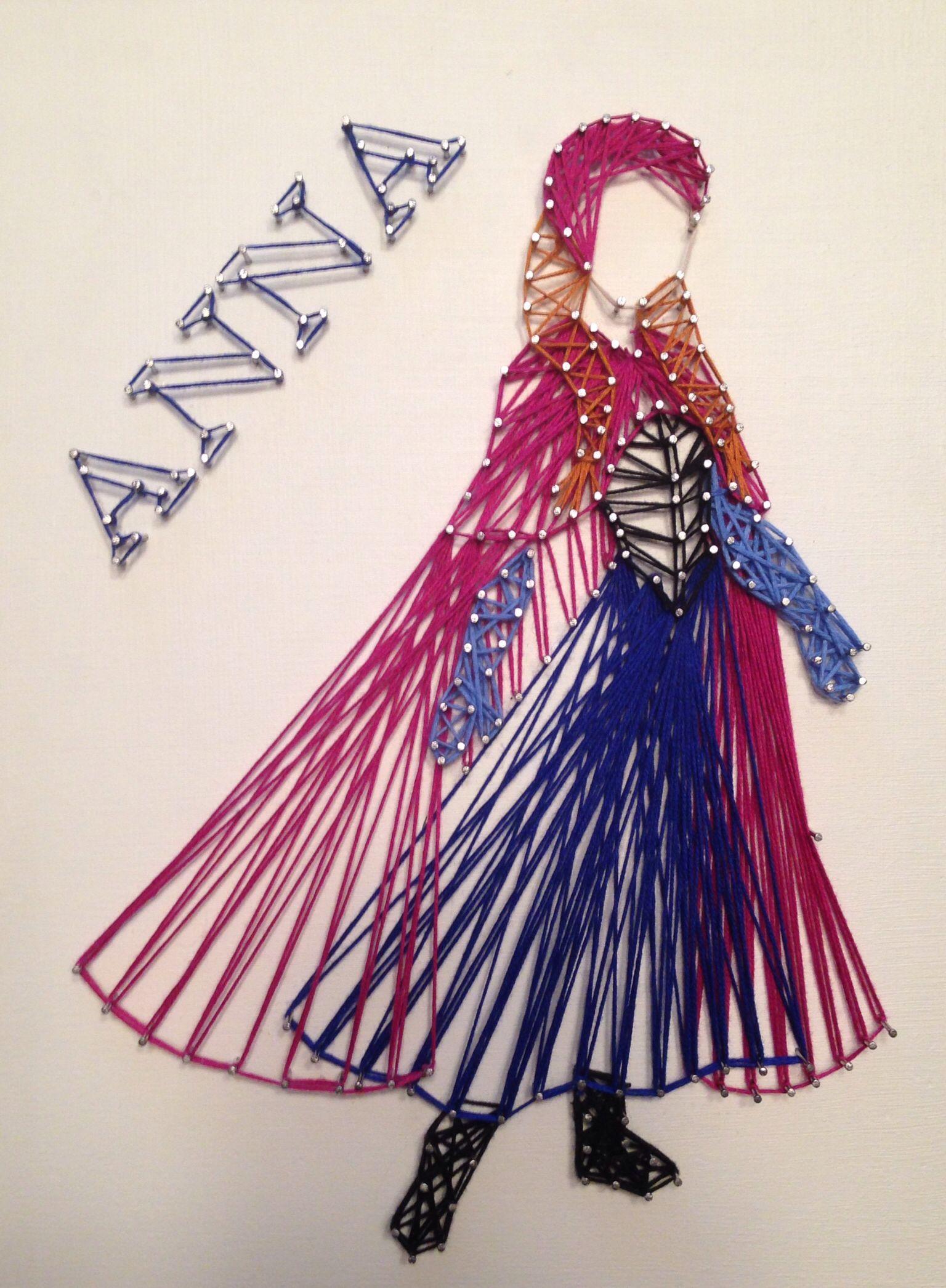 Anna from Disneys Frozen string art- no tutorial, just inspiration