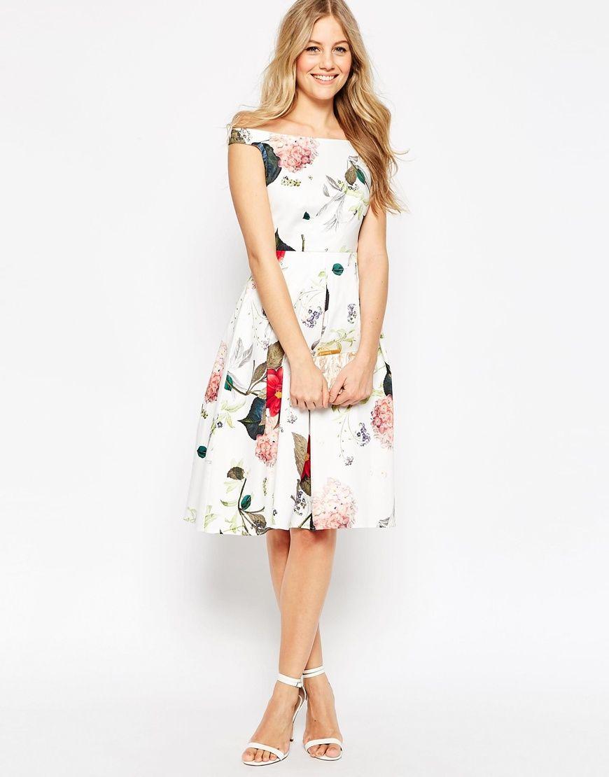 Image 1 of ASOS Off The Shoulder Midi Prom Dress in Botanical ...