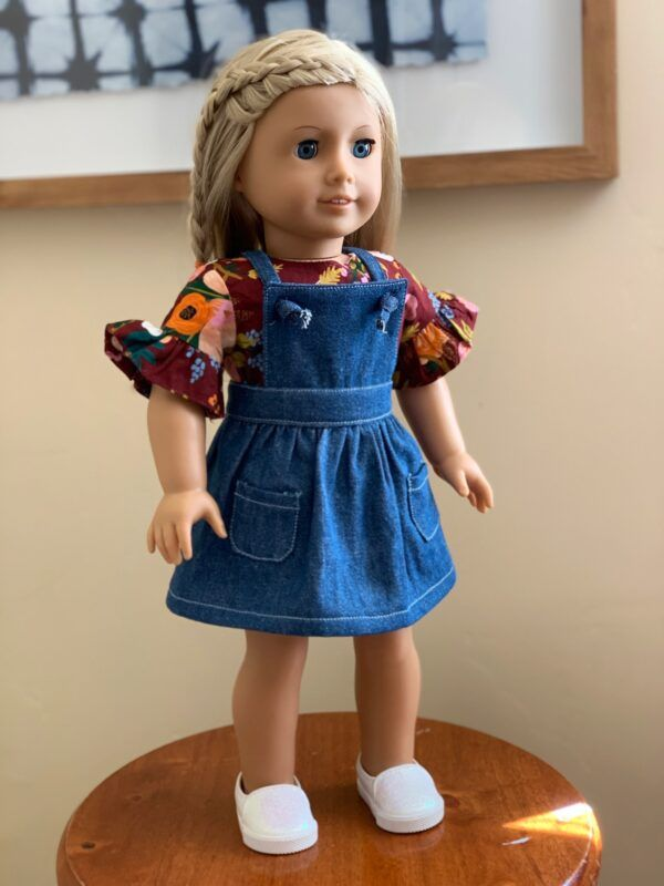 18 Doll Pinafore Dress Pattern and Tutorial #dollclothes