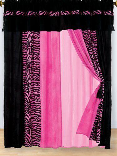 8 pc modern hot pink pink zebra micro fur curtain set