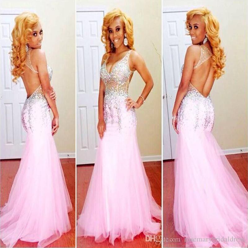 New V Neck Sexy Sheer Illusion Tulle Pink Mermaid Prom Dresses 2016 ...