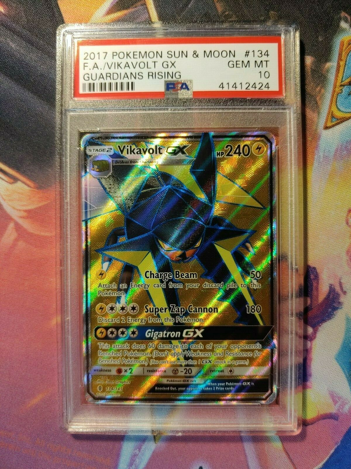Pokemon VIKAVOLT GX 134//145 FULL ART ULTRA RARE NM CARD   GUARDIANS RISING