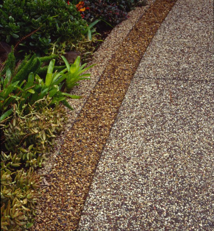 Concrete Front Yard Landscaping: Concrete Patio, Front Entry
