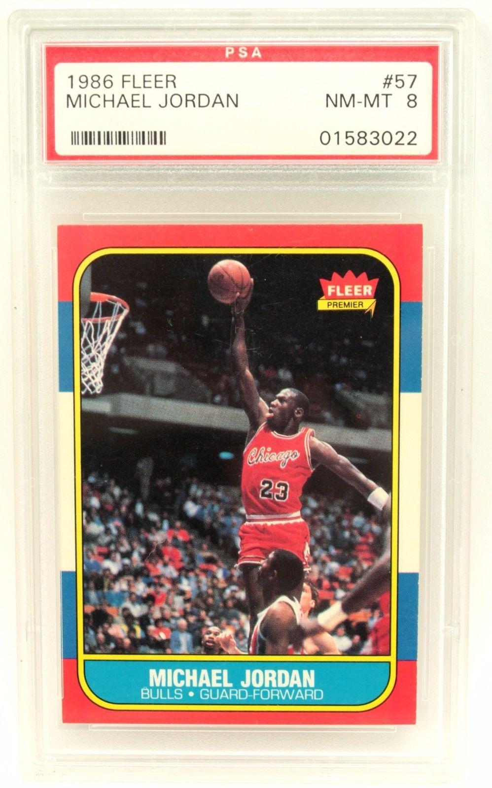 1986 fleer michael jordan rookie card 57 psa 8 graded