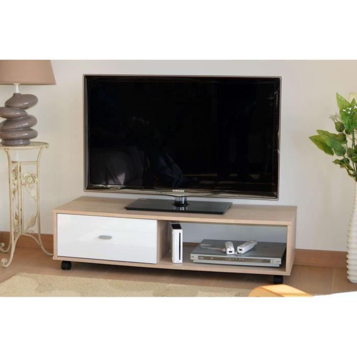 chene blanc meuble tv hifi banc tv