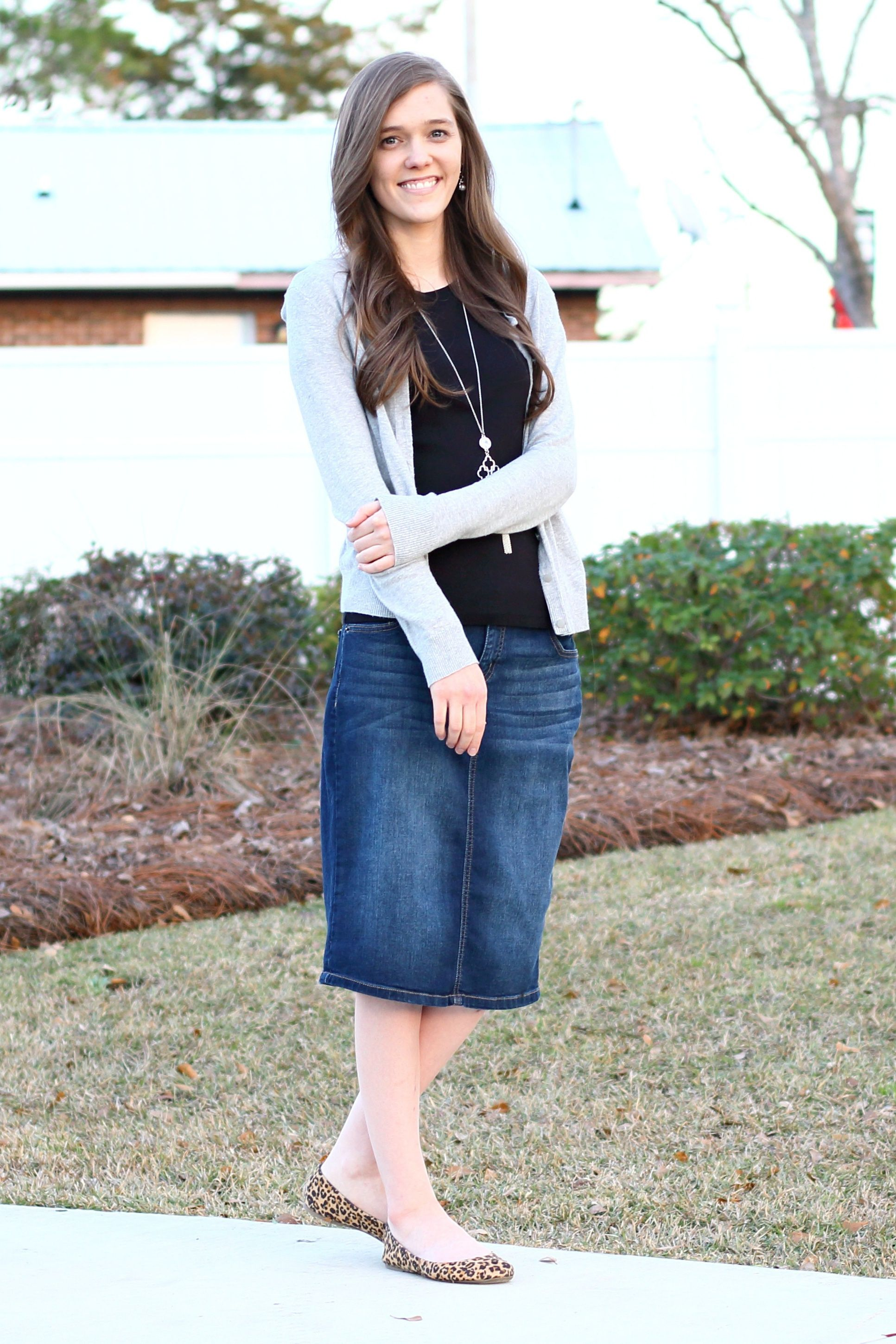 142313e859d Modest Casual Outfit Idea for Church  Denim Skirt  Leopard Print  Flats  Gray Cardigan  Black Tee  Fall Spring Style ...