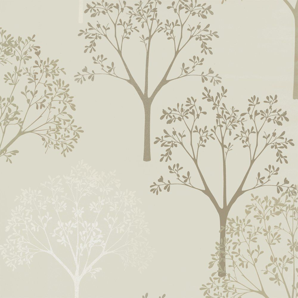Designer Selection Tree Wallpaper Cream Gold Beige Guestroom