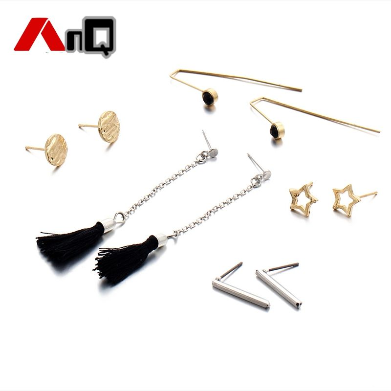 AnQ 5 Pairs/Set Silver/ Gold Tassel Earring Female Hot Sale Stud Earrings for Women Jewelry Minimalism Wholesale TD4 #Affiliate