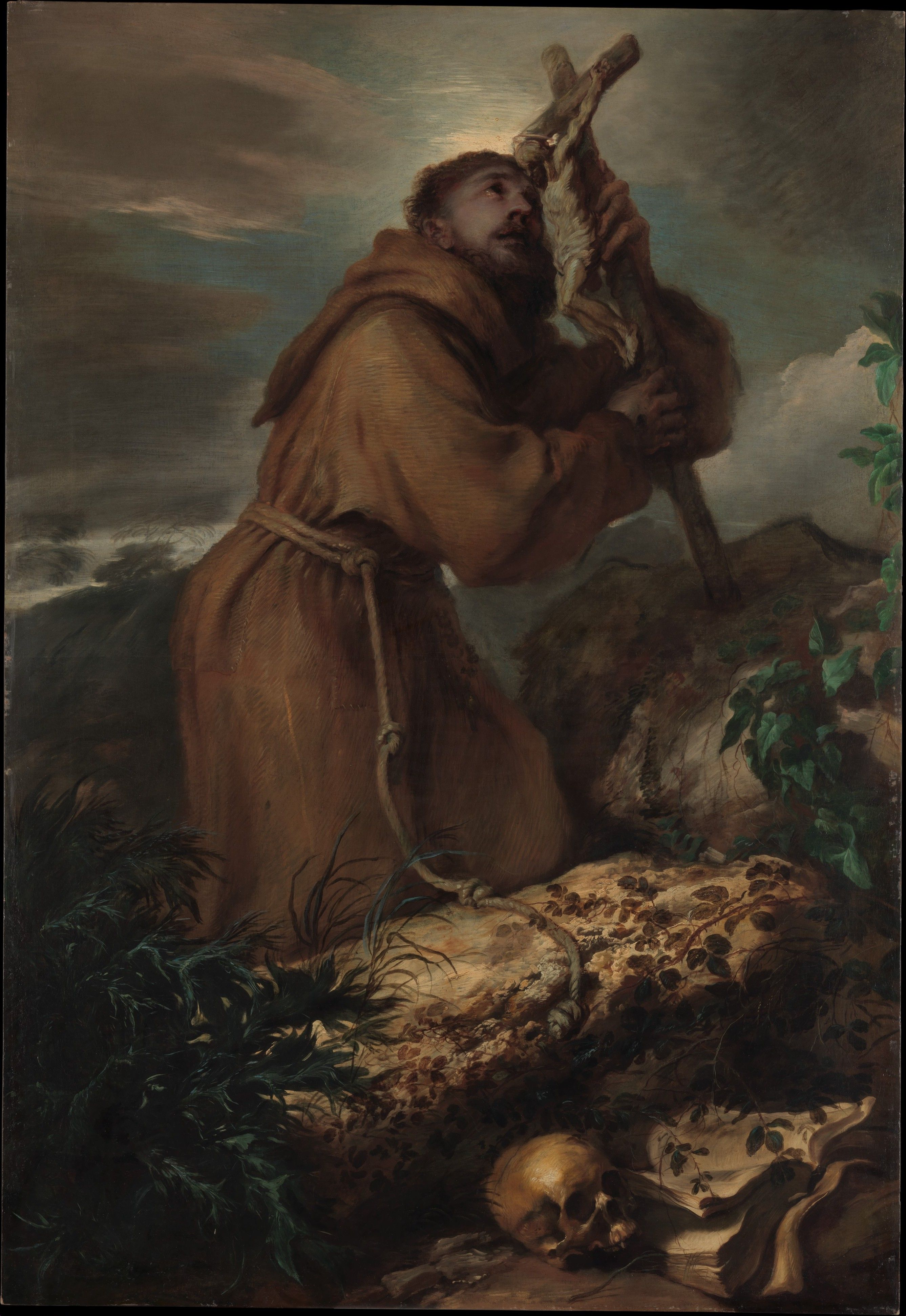 Wearing a Capuchin habit, Saint Francis (1181/1182–1226) is shown on a rocky precipice, silhouetted against an evening sky. He was famously devoted to Christ crucified and is shown in a state of ecstasy. Saint Francis in Ecstasy  Artist:Giovanni Benedetto Castiglione (Il Grechetto) (Italian, Genoa 1609–1664 Mantua) Date:ca. 1650