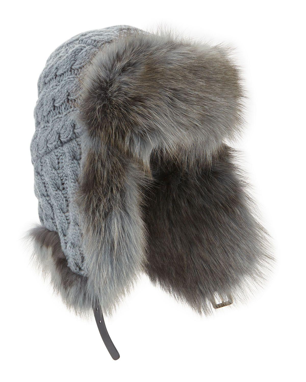 Cashmere Cable Trapper Hat w Fur Trim 7d6d8a20949e
