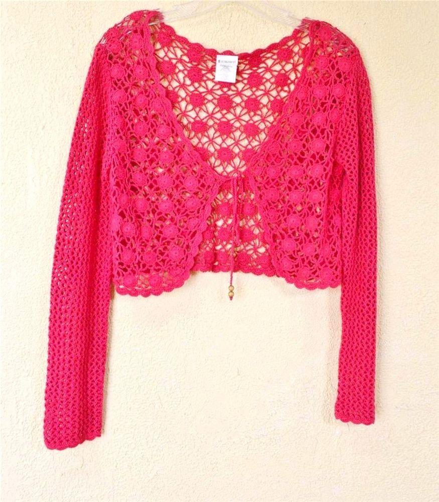 Details about No Boundaries Crochet Bolero Shrug Sweater Jr EX(15 ...