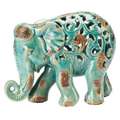 Fretwork ceramic elephant statue teal