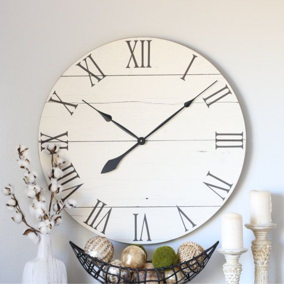 Large Wall Clock Farmhouse Living Room Decor Above Etsy Farmhouse Clocks Large Wall Clock Modern Large Wall Clock