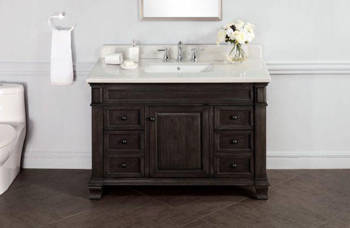 Hall Bath Vanity Kingsley 48 Single Sink Vanity With Alpine Mist Countertop With Images Bathroom Vanity Designs Rustic Bathroom Vanities Floating Bathroom Vanities