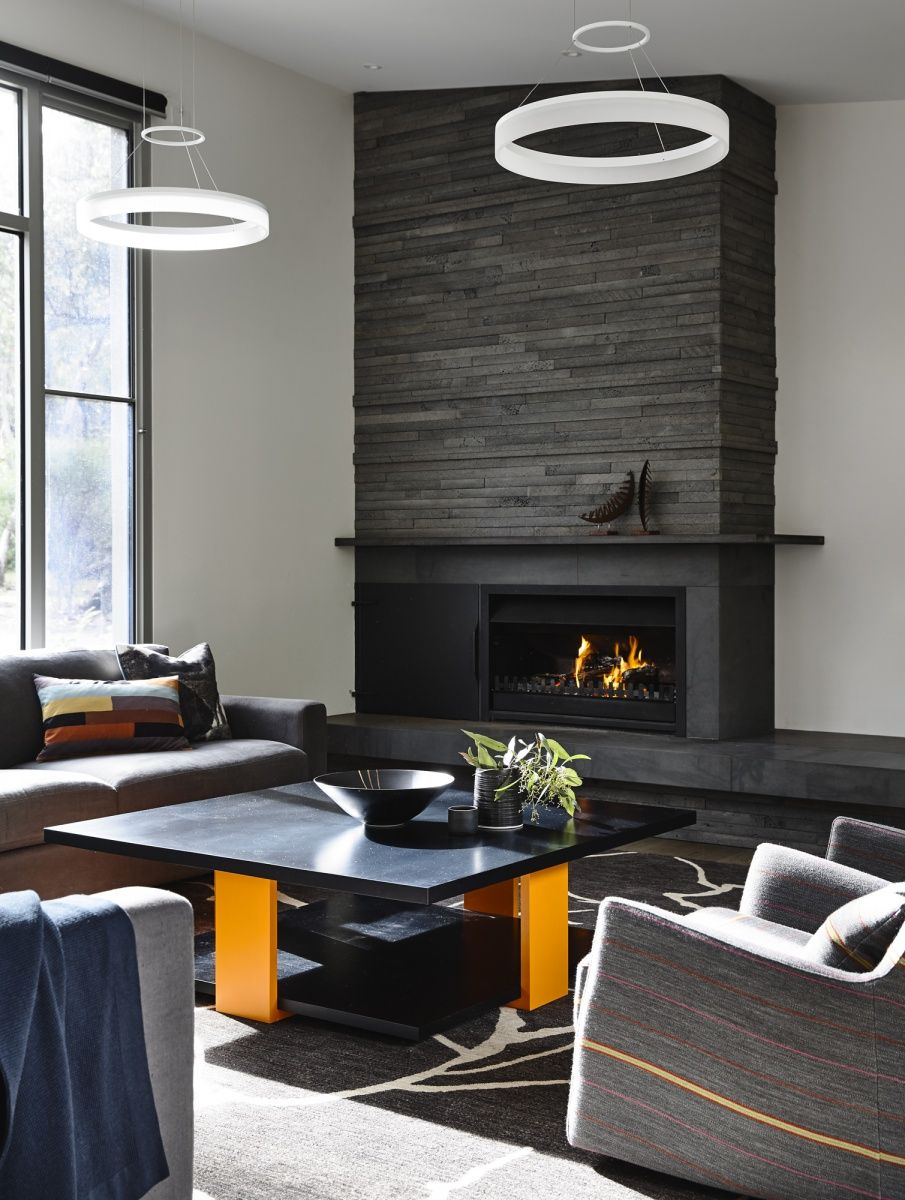 Living Room Designs With Fireplace Stacked Bluestone Fire Surround Mantel Camilla Molders Design