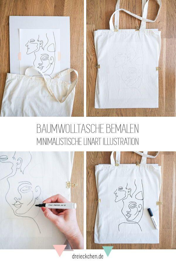 Motif d'art en ligne avec des crayons de tissu: peignez le sac de coton bricolage   – DIY Ideen
