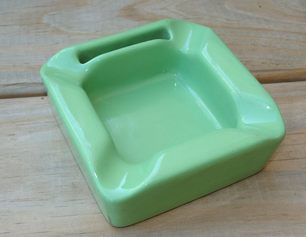 Vintage Hall Pottery Green Square Ashtray with Matchbook Holder 682 USA Matches  | eBay