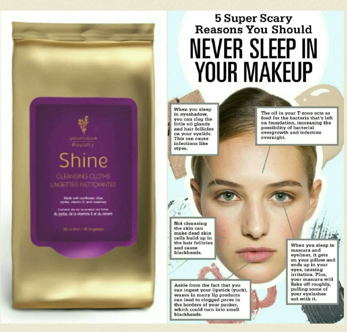 Shine wipes are amazing never go to bed with makeup on