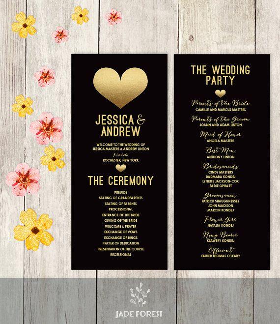 Wedding Program Printable Faux Metallic Gold Foil Heart Black And