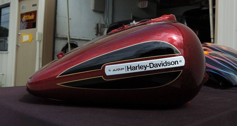 Candy Red Metalflake With Black Gold Stripes Customer