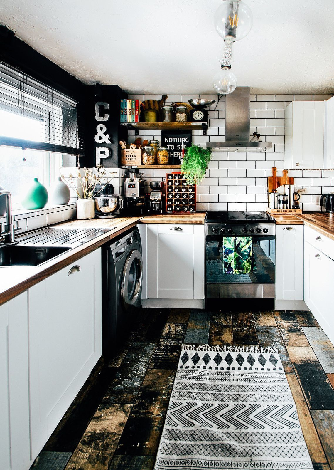 Small Enclosed Kitchen Design Inspiration For A Small Eclectic U Shaped Multicolored Floor