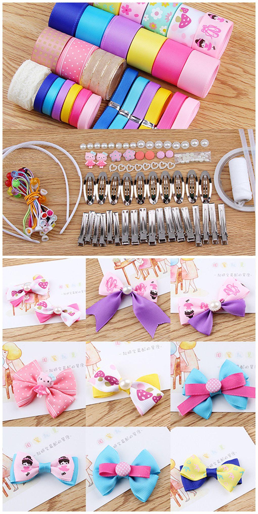SUNNYCLUE 50 Sätze Alligator Haarspange Seile Bänder Kit Band Haarbögen Haarnadeln Rutschfeste Haarspangen Haarschmuck Sets Für Mädchen Teens Kinder