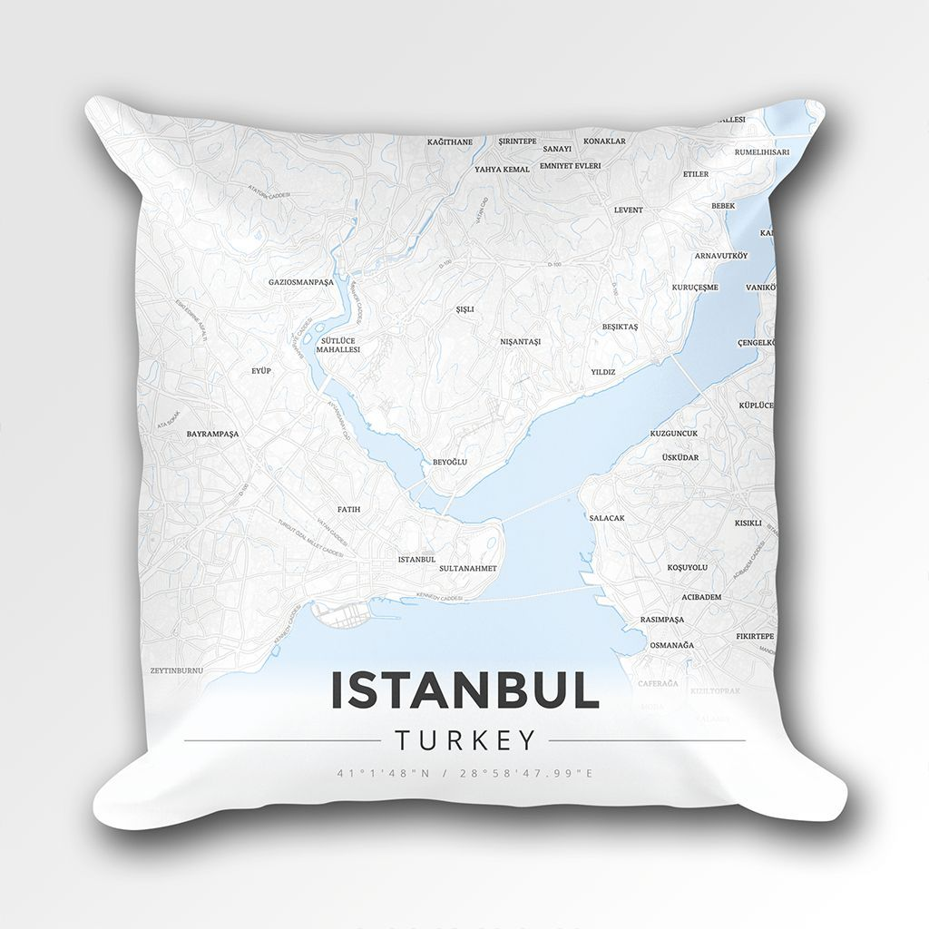 Map Throw Pillow of Istanbul Turkey - Modern Ski Map | Istanbul ...