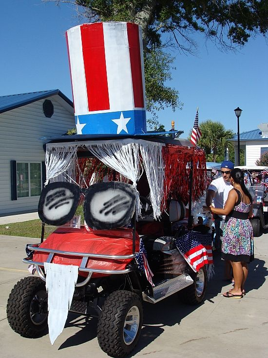 photos of 4th of july decorated golf carts