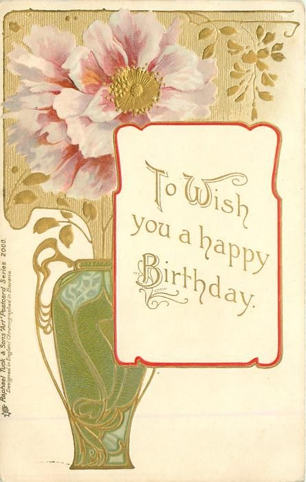 """""""To Wish You A Happy Birthday."""" Art Nouveau Pink/purple"""