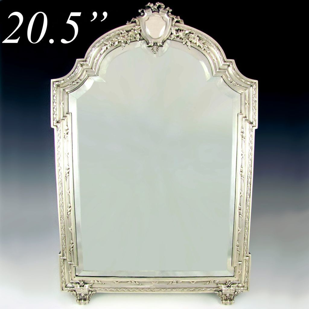 High Quality Large Antique 19c French Sterling Silver Beveled Glass Table Top Dresser /  Vanity Mirror