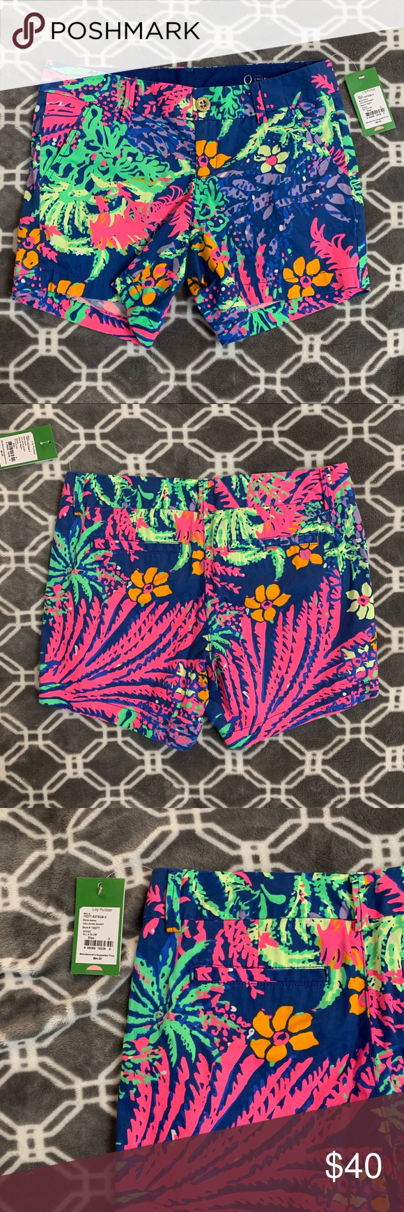 "Pulitzer Callahan Shorts, All a Glow, NWT New with tags Lilly Pulitzer Callahan shorts in ""All a Glow"" print.  Vibrant blue, pink, orange and green hues.  Beautiful shorts that match with so many different tops.  In general, Lilly Pulitzer shorts run a bit big so these fit more like a size 2. Lilly Pulitzer Shorts"