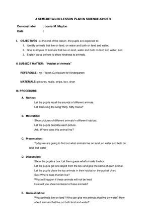 A SEMI-DETAILED LESSON PLAN IN SCIENCE-KINDER Demonstrator  Lorna M - lesson plan objectives