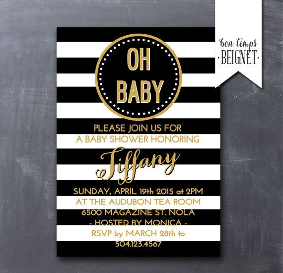 black and white striped baby shower invite wording can be changed to fit bridal showers and bachelorette parties