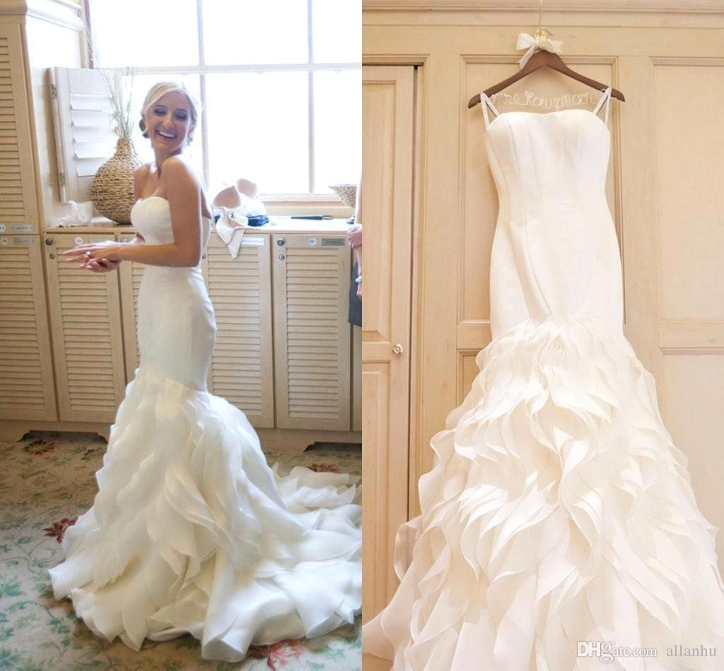 Wedding dresses with ruffles on skirt   New Vestidos De Noiva Sweetheart Mermaid Wedding Dresses Tiered