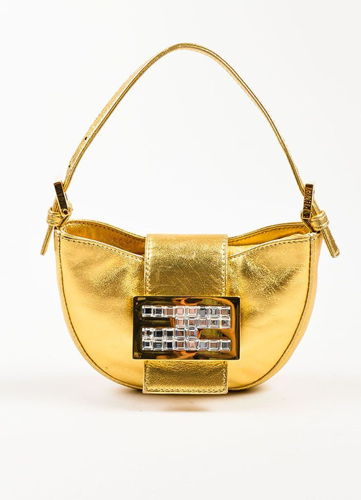 Fendi Gold Metallic Leather Clear Square Crystal
