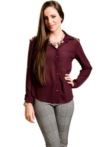 $16.00 Cut Out Studded Blouse in Burgundy #Clothes