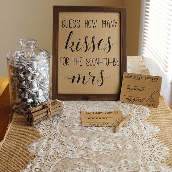 Guess How Many Kisses . Guess How Many Kisses for the Mrs . Bridal Shower Games . Wedding Shower Game . Bachelorette Party Night . Rustic .