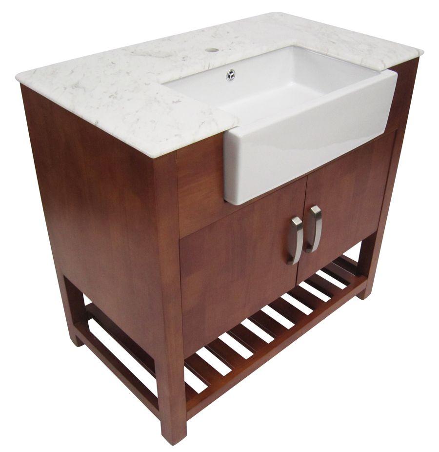 Alfi 36 Inch Golden Oak Single Sink Bathroom Vanity Marble Top